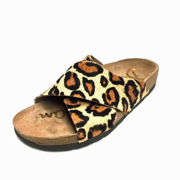 47f582266 Sam Edelman Pony Hair Leather Slip On Sandals
